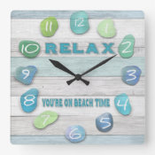 Relax, Your on Beach Time Driftwood Square Wall Clock (<em>$31.65</em>)