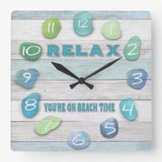 Relax, Your on Beach Time Driftwood Square Wall Clock