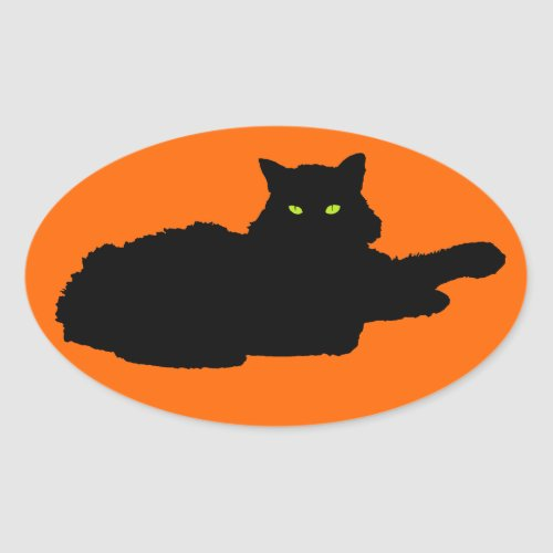 Relaxed Black Cat Silhouette on Orange Oval Sticker