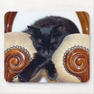 Relaxed Black Cat Sleeping Between Two Chairs Mouse Pad