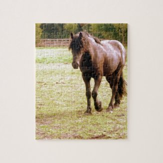 Relaxed Brown Horse Walking Jigsaw Puzzle