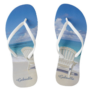 Relaxed Calm Beach Scene Personalized Flip Flops