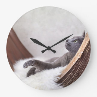 Relaxed Cat Large Clock