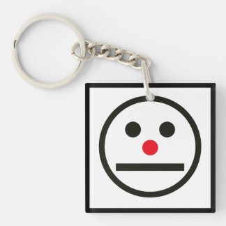Relaxed Face Expression with Red Nose Keychain
