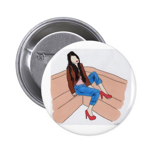 Relaxed female on sofa button