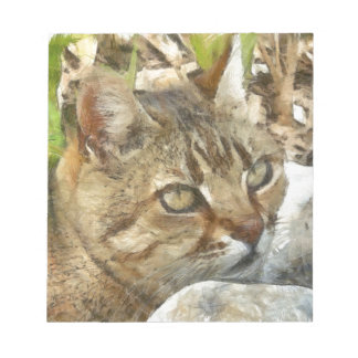 Relaxed Tabby Cat Resting In Garden Notepad