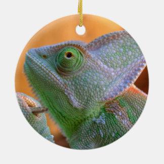 Relaxed Veiled Chameleon Ceramic Ornament