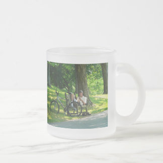 Relaxing After the Ride Frosted Glass Coffee Mug