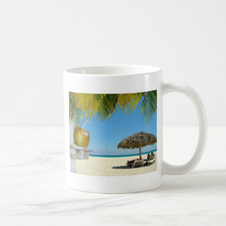 Relaxing at a tropical beach coffee mug