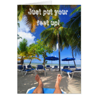 Relaxing at the beach card