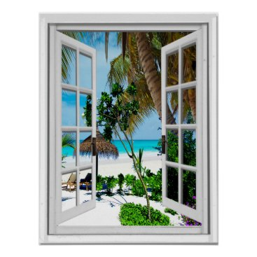 Relaxing Beach Artificial Window View Poster