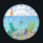 "Relaxing Beach Dart Board<br><div class=""desc"">Relaxing Beach Dart Board features a beach background with ocean, sand, sailboat and dolphin, two colorful beach chairs with beach bags, beach hats, flip flops starfish. Bull's-eye! Let the games begin! Each dart boards comes with six brass tipped darts. One set of three American flag flight darts and one set...</div>"