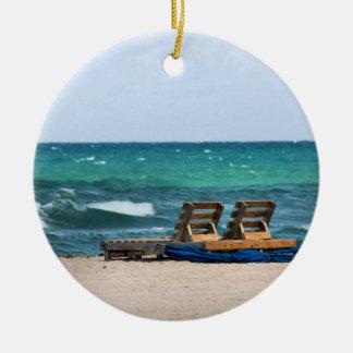 Relaxing Beach Photograph Ceramic Ornament