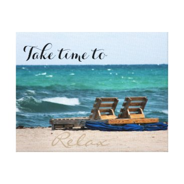 Beach Themed Relaxing Beach Photograph with Custom Text Canvas Print