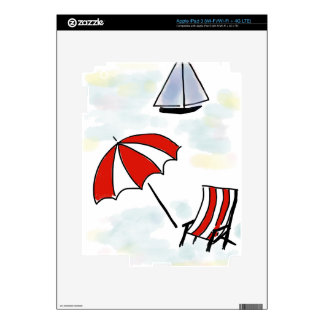 Relaxing Beach Scene - Hand Drawn Sketch Decal For iPad 3