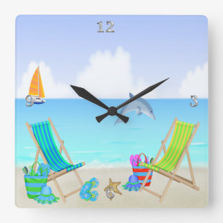 Relaxing Beach Square Wall Clock