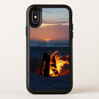 Relaxing Beach Sunset with Bonfire OtterBox Symmetry iPhone X Case