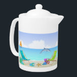 "Relaxing Beach Teapot<br><div class=""desc"">This Relaxing Beach Teapot Features a beach background with ocean, sand, sailboat and dolphin, leaves, purple flowers, beach chairs with umbrella, purple surfboard and ocean. Available in two sizes. Ready for your next party it's Perfect for any room in your home or beach house. Also makes a wonderful housewarming gift!...</div>"
