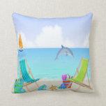 Relaxing Beach Throw Pillow