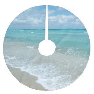 Relaxing Blue Beach Ocean Landscape Nature Scene Brushed Polyester Tree Skirt