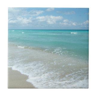 Relaxing Blue Beach Ocean Landscape Nature Scene Ceramic Tile