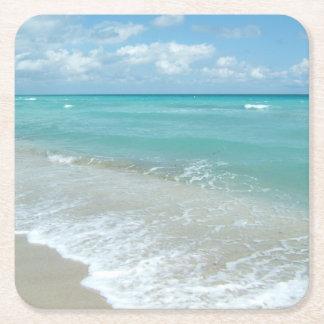 Relaxing Blue Beach Ocean Landscape Nature Scene Square Paper Coaster