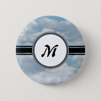 Relaxing Clouds and Sky Printed Monogram Pinback Button