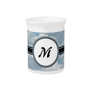 Relaxing Clouds and Sky Printed Monogram Pitcher