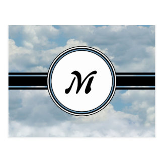 Relaxing Clouds and Sky Printed Monogram Postcard