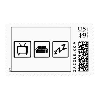 Relaxing couch television snore postage stamps