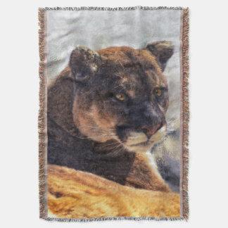 Relaxing Cougar Mountain Lion Wildlife Art Design Throw Blanket