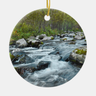 Relaxing Forest River Ceramic Ornament