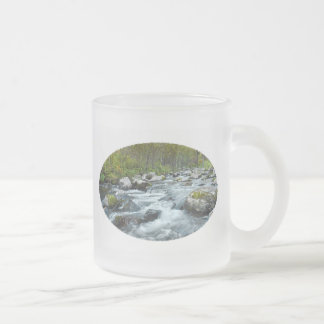 Relaxing Forest River Frosted Glass Coffee Mug
