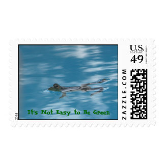 Relaxing frog, It's Not Easy to Be Green Postage Stamp