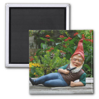 Relaxing Gnome with Santa Cap 2 Inch Square Magnet