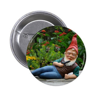 Relaxing Gnome with Santa Cap Button