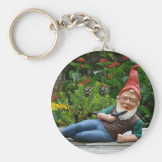 Relaxing Gnome with Santa Cap Key Chain