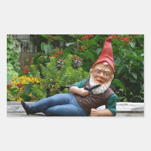 Relaxing Gnome with Santa Cap Rectangular Sticker