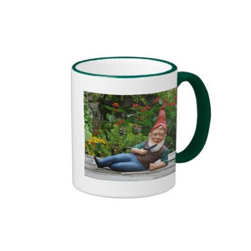 Relaxing Gnome with Santa Cap Ringer Coffee Mug
