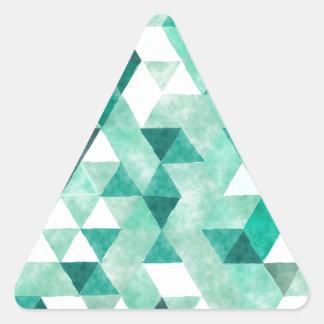 Relaxing Green Watercolor Geometric Pattern Triangle Sticker