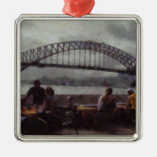Relaxing in front of Sydney Harbour bridge Metal Ornament