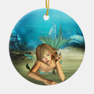 Relaxing Mermaid Double-Sided Ceramic Round Christmas Ornament