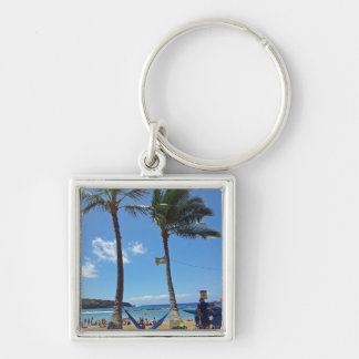 Relaxing on a Hawaii Beach Keychain