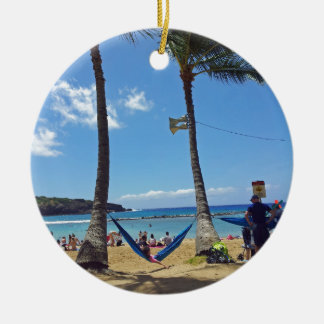 Relaxing on a Hawaii Beach Christmas Ornaments