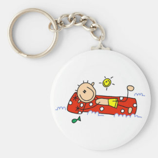 Relaxing on Air Mattress Basic Round Button Keychain