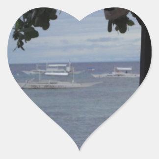 relaxing on the beach heart sticker