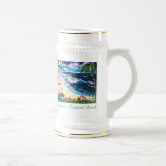 Relaxing on Tropical Beach! 18 Oz Beer Stein