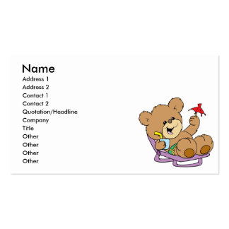 relaxing on vacation teddy bear design business cards