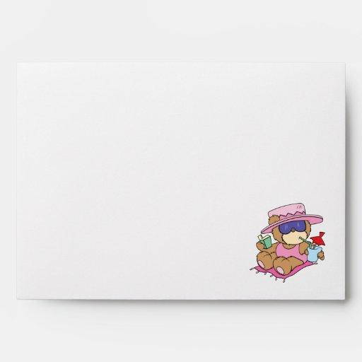 relaxing on vacation teddy bear girl design envelope