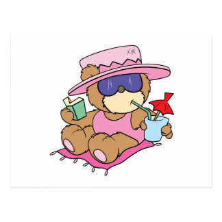 relaxing on vacation teddy bear girl design postcard